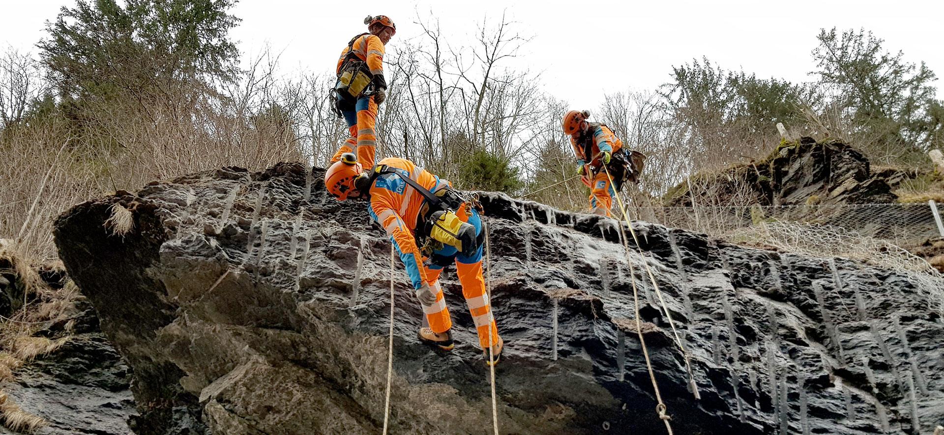 Felsreinigung im stark bewaldeten Gebiet