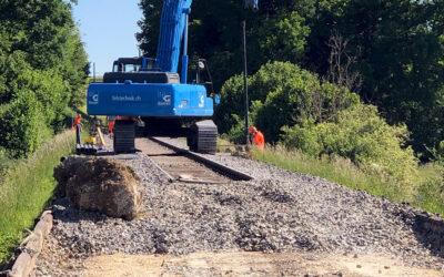 Bahnstrecke Alle – Vendlincourt (JU): Unverpresste Duktilpfähle
